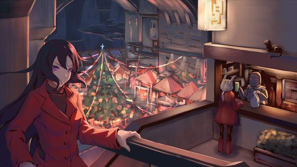 Конкурсная работа Длинноволосая девушка на балконе, позади нее девушка с кроличьими ушками покупает напиток у робота, внизу стоит нарядная елка
