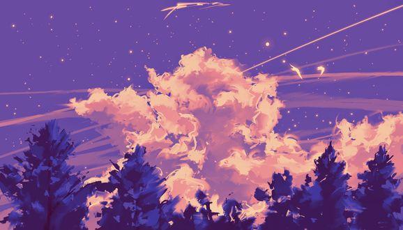 Птицы в сумрачном небе на деревьями, by Fangpeii