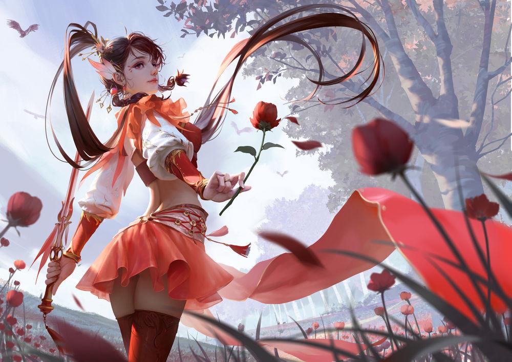 Обои для рабочего стола Девушка с мечом и цветком стоит среди цветочного поля, by Rui Li