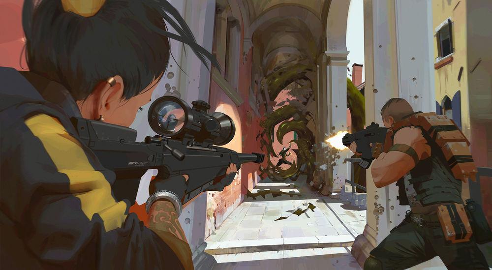 Обои для рабочего стола Девушка-солдат Viper / Гадюка целится через оптический прицел, фанарт видеоигры VALORANT, by Atey Ghailan