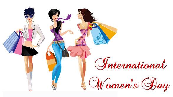 Конкурсная работа Девушки идут довольные с подарками и надписью (International Womens Day / Международной Женский День)