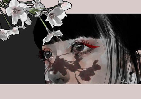 На лицо девушки падает тень от цветущей ветки сакуры