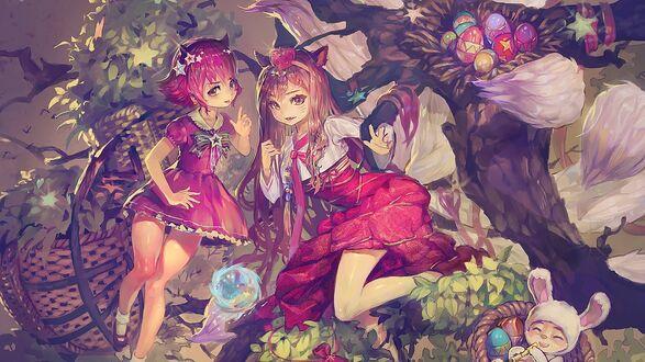 Конкурсная работа Девочки-лисички на дереве и гнезда с пасхальными яйцами