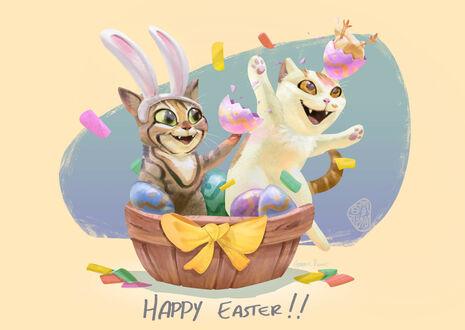 Конкурсная работа Два кота в чашке с крашенными яйцами (Happy Easter)