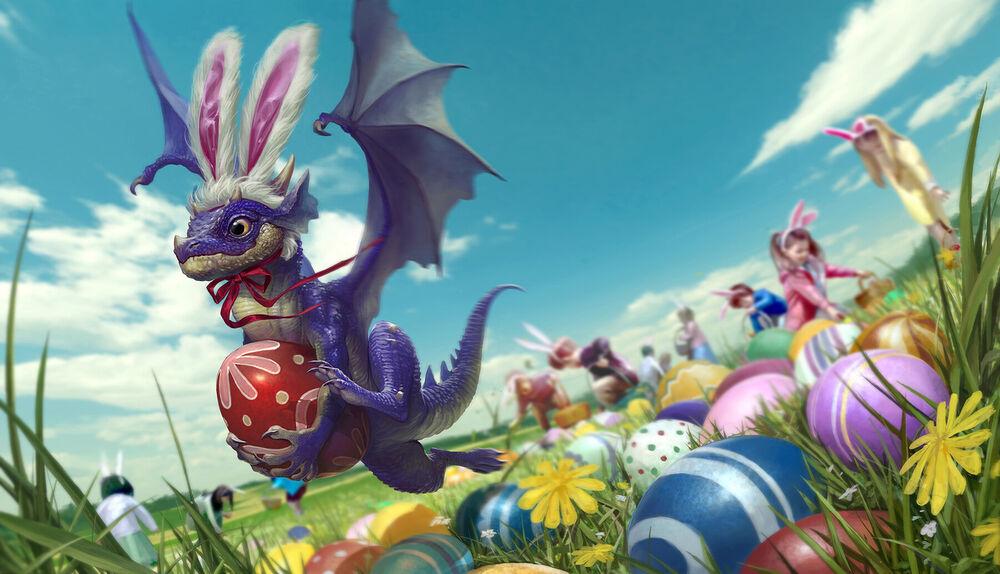 Обои для рабочего стола Дракончик в ободке с кроличьими ушками держит в лапах яйцо