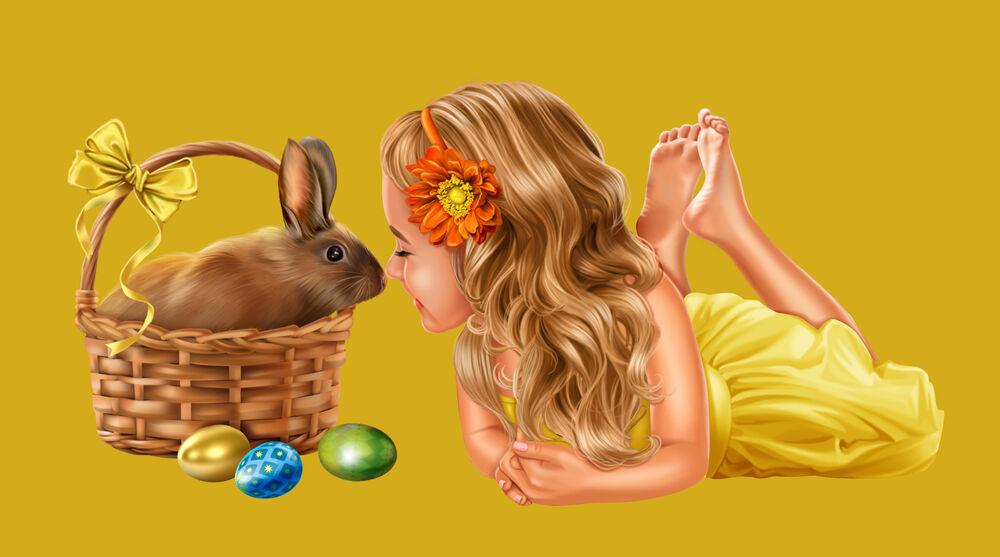 Обои для рабочего стола Светловолосая девочка в желтом платье лежит рядом с корзинкой, в котором сидит кролик, рядом лежат три разноцветных яйца