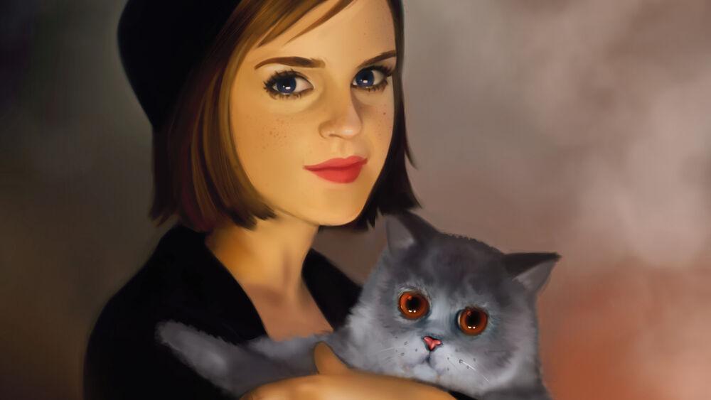 Обои для рабочего стола Британская актриса Emma Watson / Эмма Уотсон с серым с янтарными глазами котом
