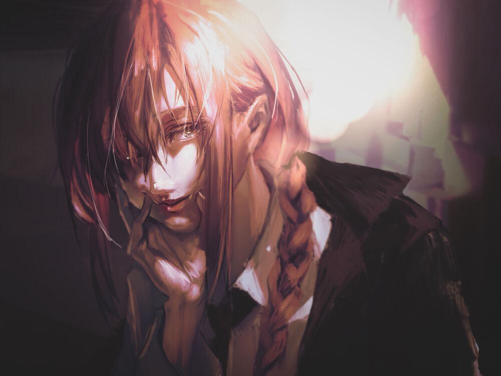 Обои для рабочего стола Портрет девушки Makima, персонаж из аниме Chainsaw Man / Человек-Бензопила, by Neg