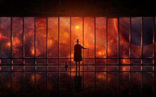 Конкурсная работа Мужчина с тростью стоит у окна с видом на космос, рядом кот, все в красном цвете
