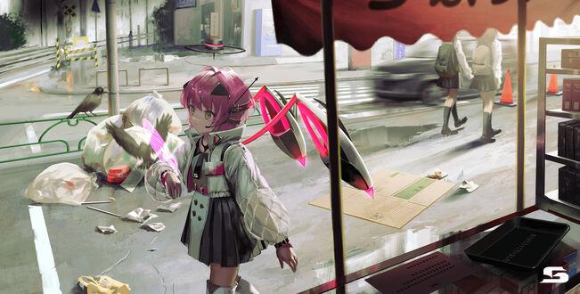 Конкурсная работа Вид из-за окна в другой мир города Sinsekai / Синсекай, by kouka oekaki