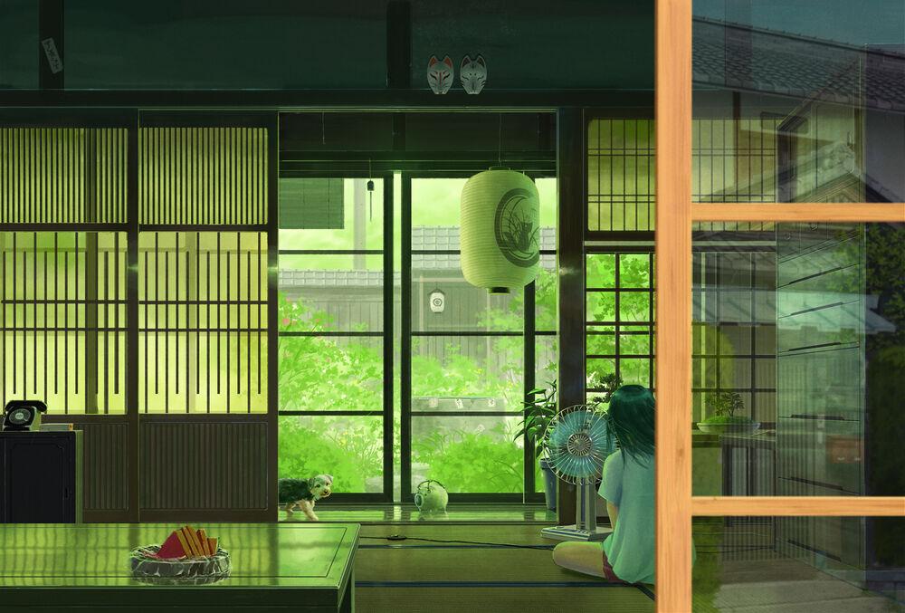Обои для рабочего стола Девочка сидит перед вентилятором в комнате с щенком