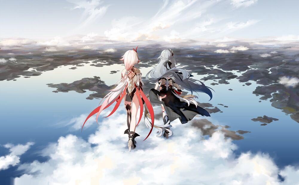 Обои для рабочего стола Девушки-войны идут в облаках над лазурной империей, фан арт видеоигры Honkai Impact 3 by Rafa