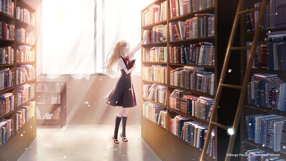 Обои для рабочего стола Девушка стоит в библиотеке освещенная солнечными лучами, by Kaori Minato