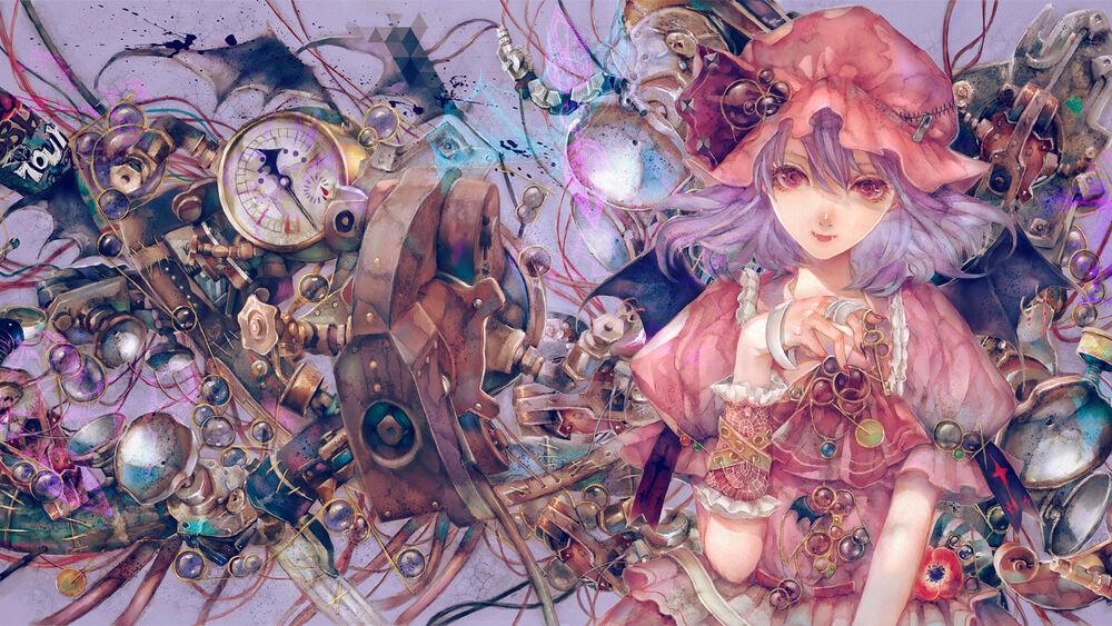 Обои для рабочего стола Remilia Scarlet / Ремилия Скарлет, персонаж из аниме Touhou / Тохо, by Yogisya