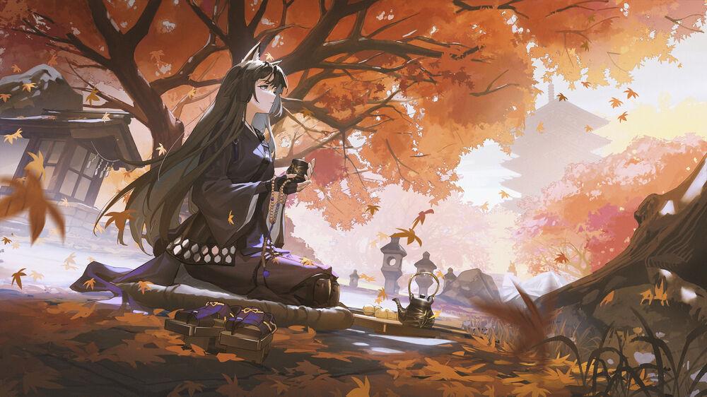 Обои для рабочего стола Saga согнув колени сидит с чашкой в руках, персонаж из игры Arknights, art by TTK (kirinottk)