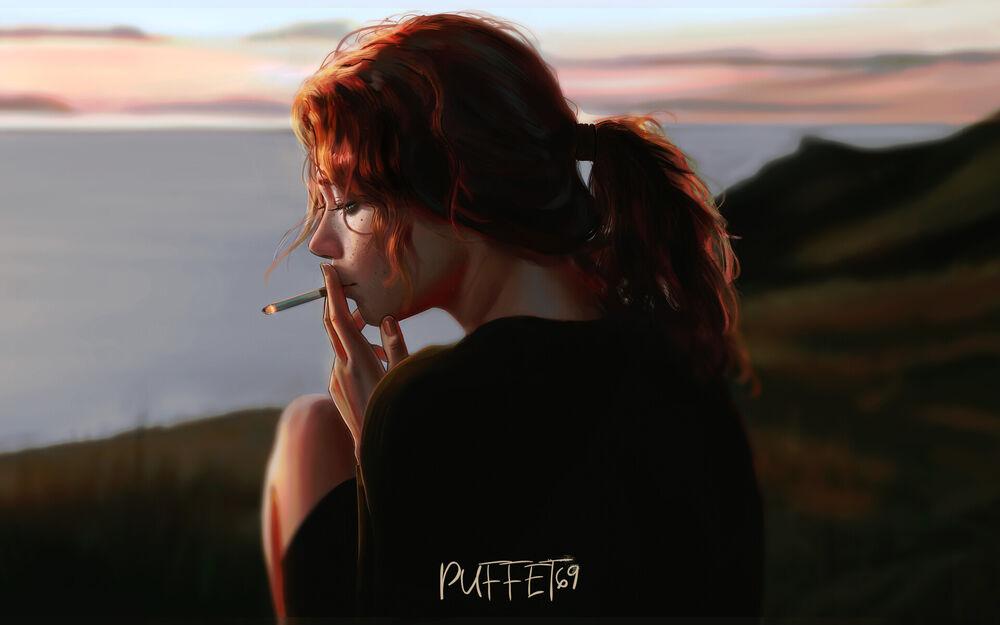 Обои для рабочего стола Рыжеволосая девушка курит сидя на фоне вечернего неба, digital art by Puffet69