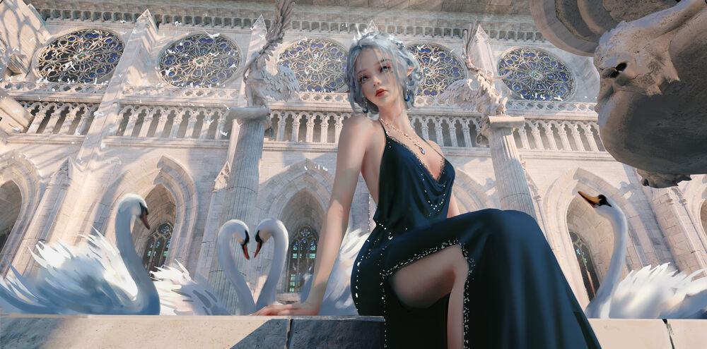 Обои для рабочего стола Princess Yan / Принцесса Ян в черном платье сидит возле белых лебедей, персонаж из веб комикса Ghost Blade / Призрачный клинок, art by WLOP