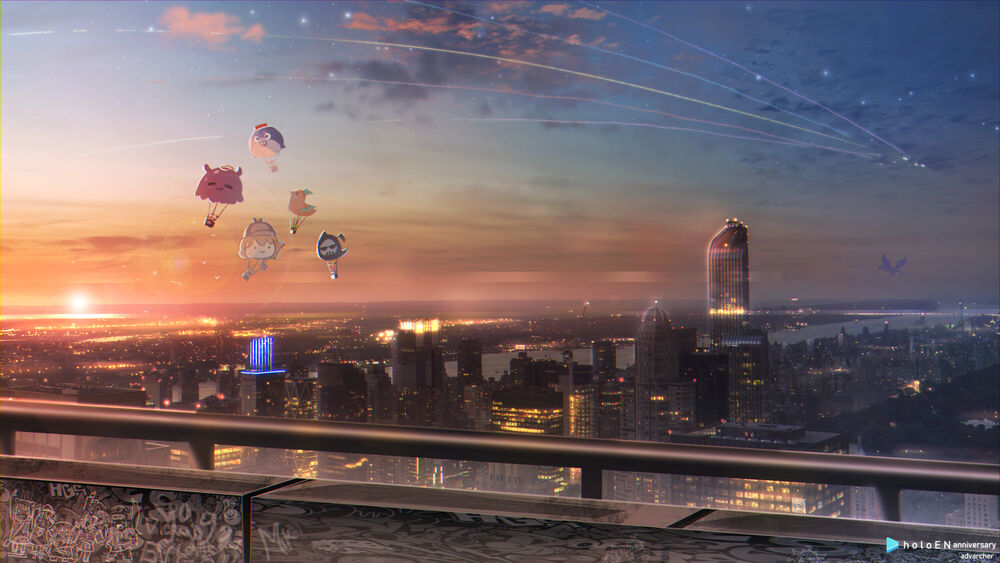 Обои для рабочего стола Bloop / Блуп, Death-sensei / Смерть-сенсей, Kotori / Котори, Smol Ame / Смол Амэ и Takodachi / Такодачи в виде воздушных шаров парят в небе над городом (виртуальный ютубер Hololive), by Amos Yan