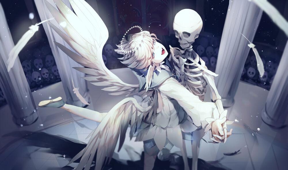 Обои для рабочего стола Веселая девочка-ангел танцует со скелетом на сцене перед другими скелетами