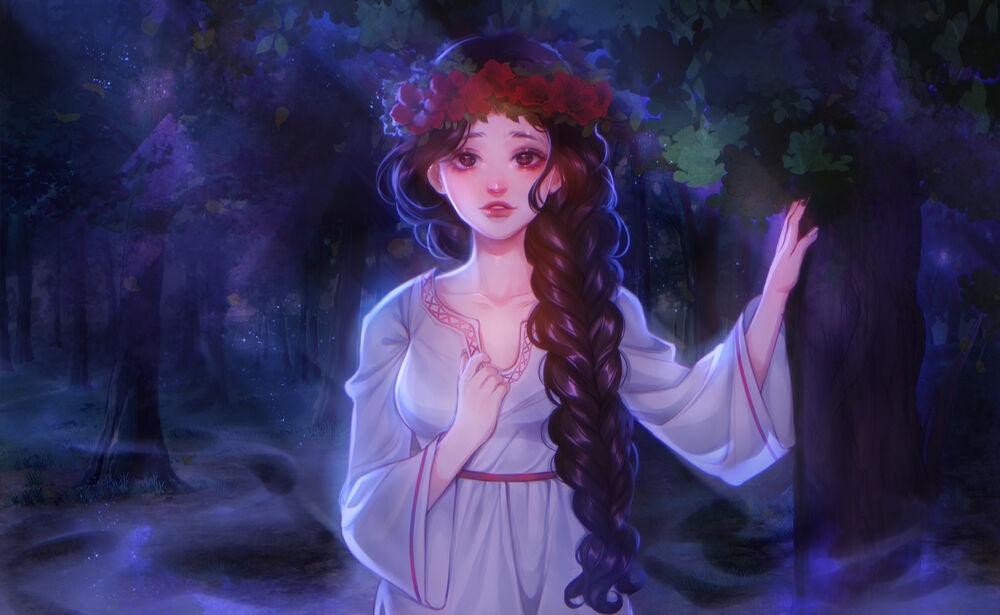 Обои для рабочего стола Девушка в ночном лесу, by Ladygelion