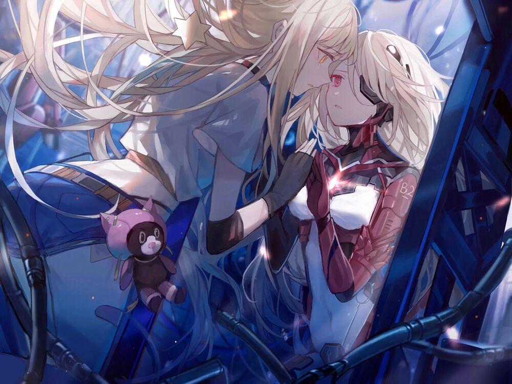 Обои для рабочего стола Две девушки с разных сторон зеркала, арт по игре Tower of Fantasy