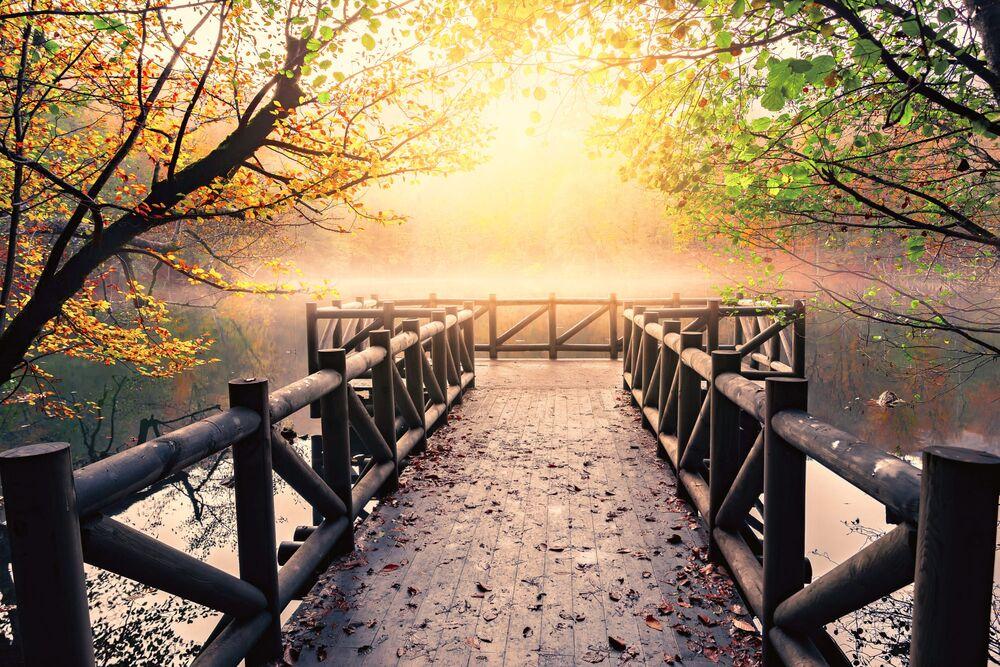 Обои для рабочего стола Мостки на реке ранним осенним утром