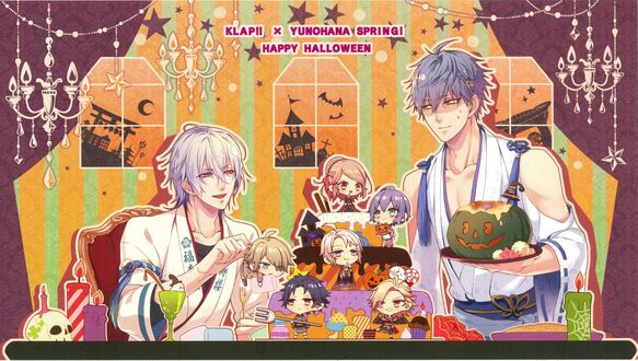 Конкурсная работа Два парня праздную Halloween за столом со сладостями в компании чибиков, by Ruri