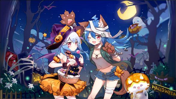 Конкурсная работа Белокурая ведьмочка стоит рядом с синеволосой девушкой-оборотнем (Halloween / Хэллоуина)