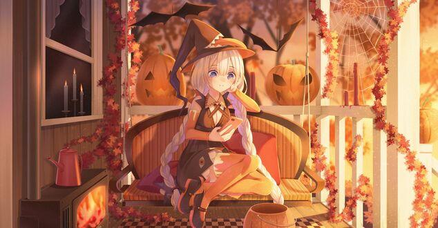 Конкурсная работа Kizuna Akari / Кизуна Акари с телефоном в руке сидит на диване в праздник хеллоуина