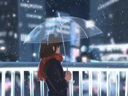 Обои Девушка в пальто и шарфе стоит под зонтом на фоне домов на рабочий стол
