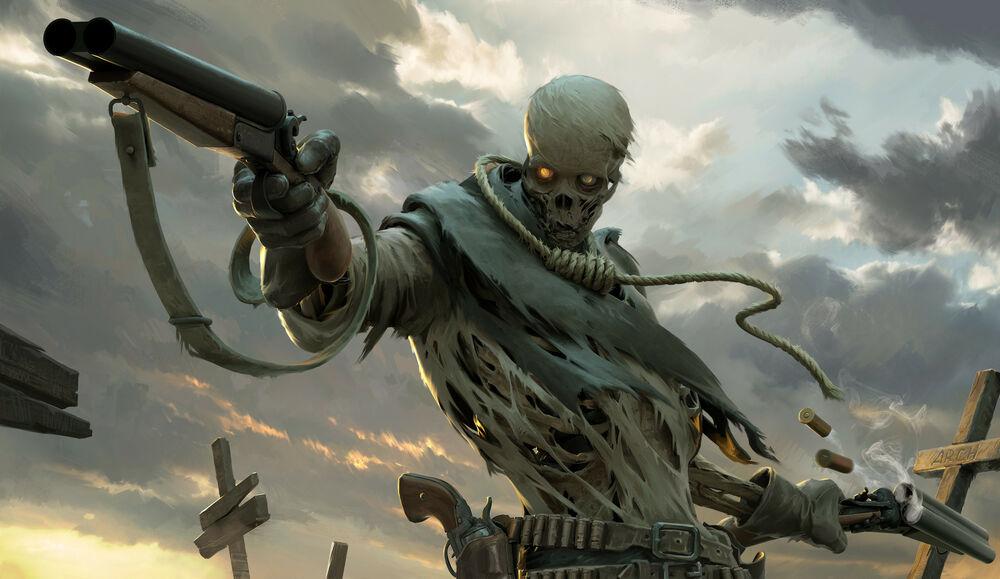 Обои для рабочего стола Скелет с обрезами в руках стреляет на кладбище, art by Roman Chaliy
