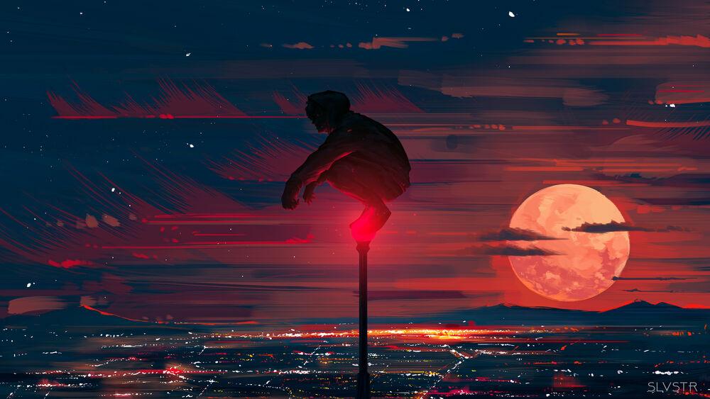 Обои для рабочего стола Парень сидит на уличном фонаре на фоне красного закатного неба, digital art by Pen-Syls