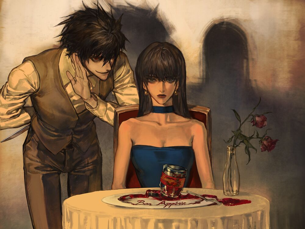 Обои для рабочего стола ББ / Beyond Birthday / Бейонд Бездэй и Наоми Мисора / Naomi Misora из аниме Тетрадь смерти: Другая тетрадь — Лос-Анджелес по следу убийцы ББ / Death Note Another Note: Los Angeles BB Renzoku Satsujin Jiken
