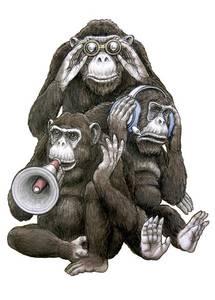 Фото Три обезьяны, с биноклем в наушниках и с громкоговорителем (© Radieschen), добавлено: 30.06.2010 15:53