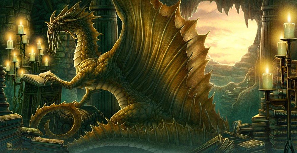 Фото дракон читает книгу заклятий