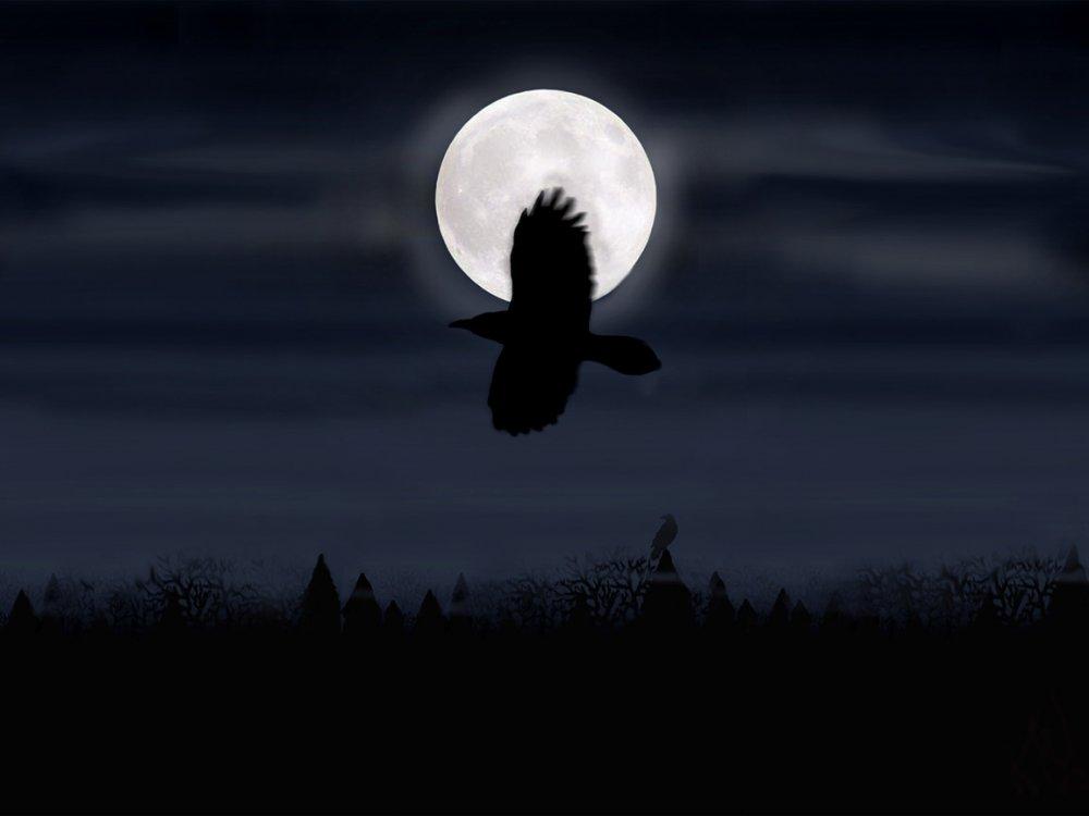 Картинка ворон на фоне луны