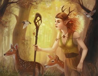 Фото Богиня леса в сопровождении олешек и птичек бредёт куда-то по своим неотложным делам