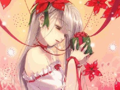 Фото Юная блондинка с красным цветком в волосах держит маленький подарок (© Anatol), добавлено: 18.08.2010 17:14