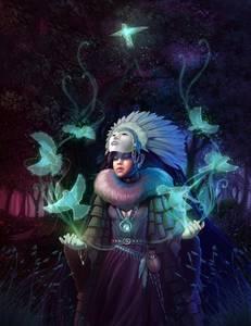 Фото Волшебница в маске с голубями