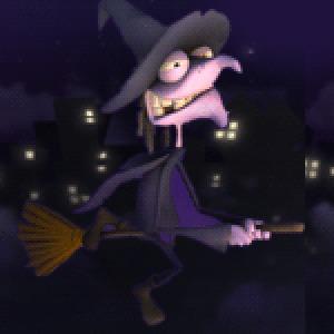 Фото ведьма пролетает над домами, гордо руля помелом