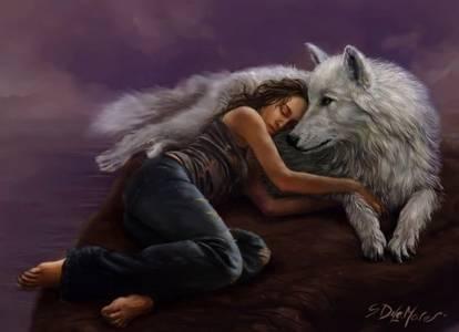 Фото Девушка с волком (© Штушка), добавлено: 18.10.2010 21:52