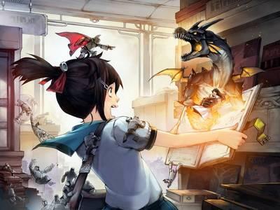 Фото Девочка открыла магическую книгу, из которой начал вылезать дракон, схвативший принцессу