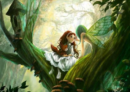 Фото Девочка встретила лесную фею (© Anatol), добавлено: 25.10.2010 15:59