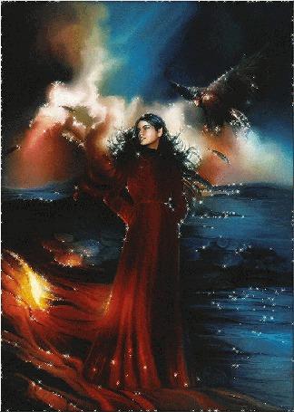 Фото Девушка на берегу моря, над ней кружится коршун