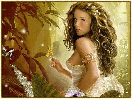Фото Девушка с бабочками (Анимация Рай)