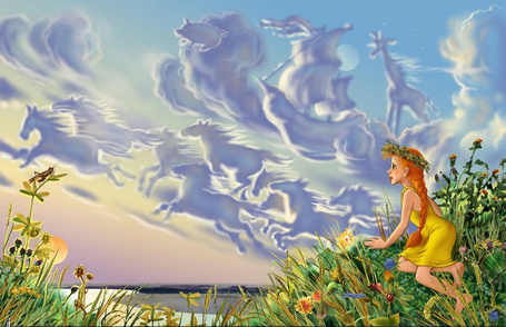 Фото Девочка, открыв рот, наблюдает за полётом сказочных животных