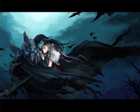 Фото Чёрный ангел уносит свою возлюбленную