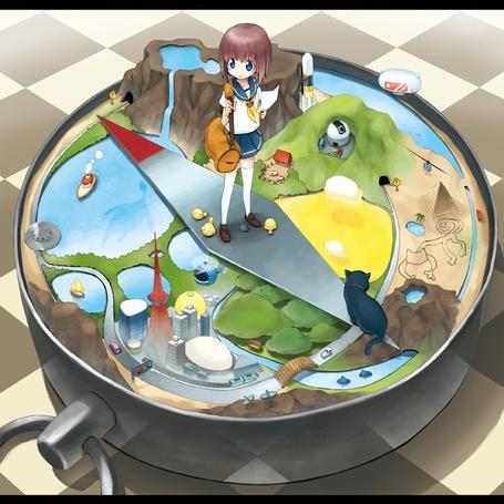 Фото Девочка стоит на стрелке компаса, выбирая, куда ей идти