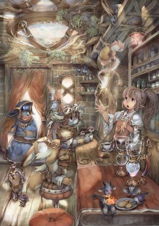 Фото Стойка бара в харчевне для сказочных лесных жителей, за ней эльфийка ловко управляется с кухонной утварью, стараясь накормить-напоить завсегдатаев.