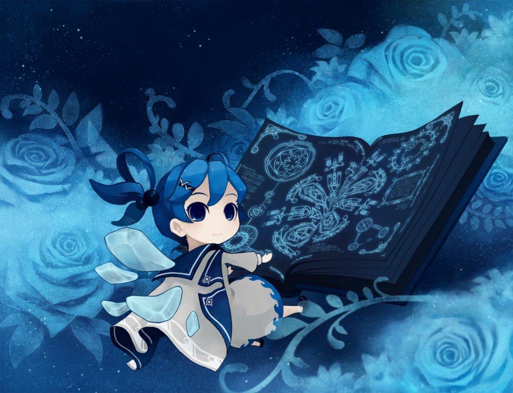 Фото Девочка читает волшебную книгу, вокруг расцветают сказочные цветы